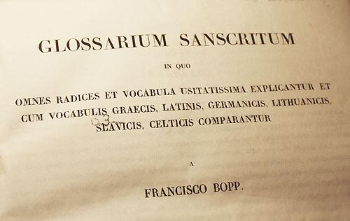Glossarium sanscritum title page